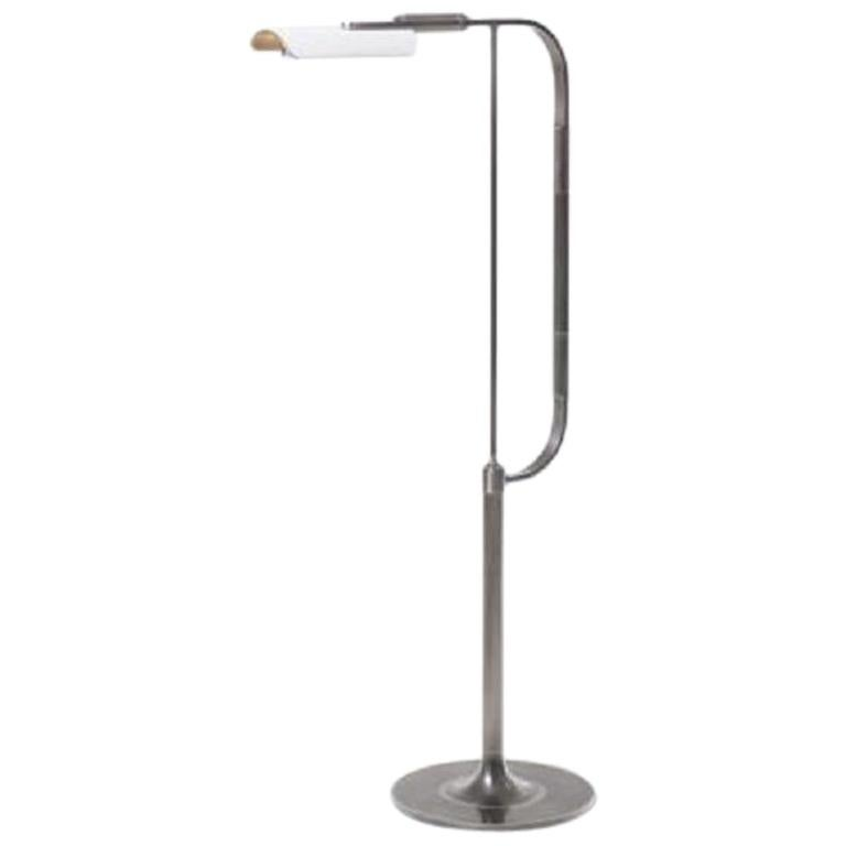 HOLLY HUNT Bowyer LED Reading Lamp in Aged Nickel & Stingray Leather Shade