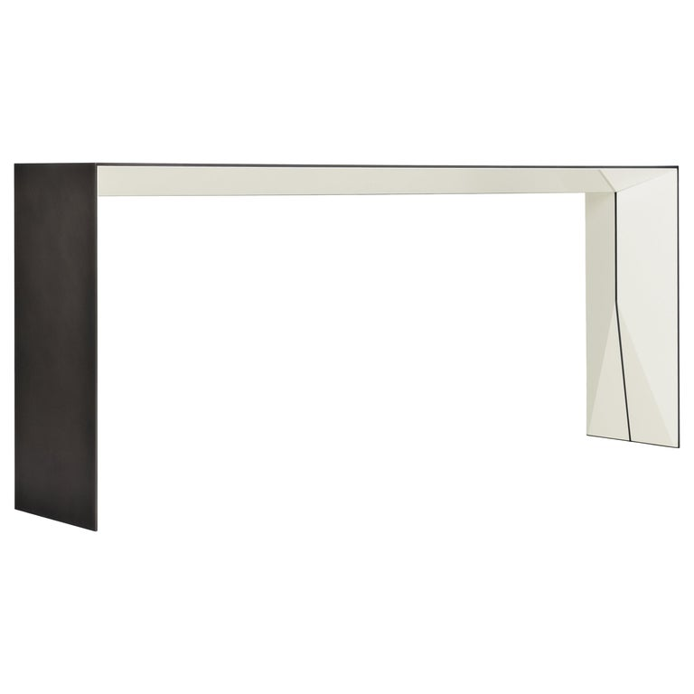 HOLLY HUNT Brimstone console table in steel with Lacquer Blanc finish, new