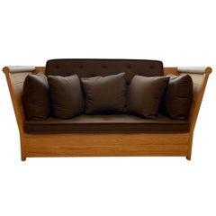 HOLLY HUNT CA Oak Wood Sofa & Brown Wool Upholstery by Christian Astuguevieille