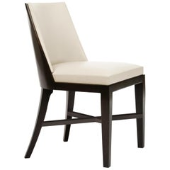 HOLLY HUNT Crescent Dining Chair in Walnut Cinder Frame with Cream Leather Seat