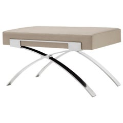 Holly Hunt Dragonfly Bench in Polished Stainless Steel and Limestone Upholstery