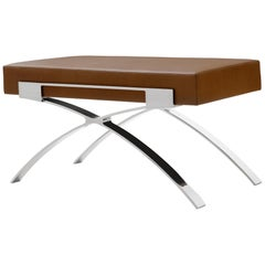 Holly Hunt Dragonfly Bench in Polished Stainless Steel and Tahiti Upholstery