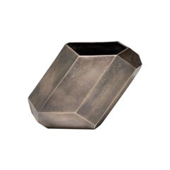 HOLLY HUNT Faceted Block Vertical Vase in Bronze by Stefan Gulassa
