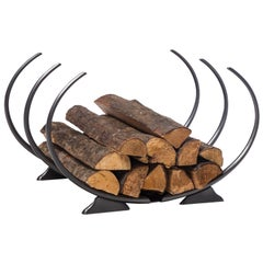 HOLLY HUNT Fiamma Log Holder in Forged Steel with Gunmetal Bronze Finish