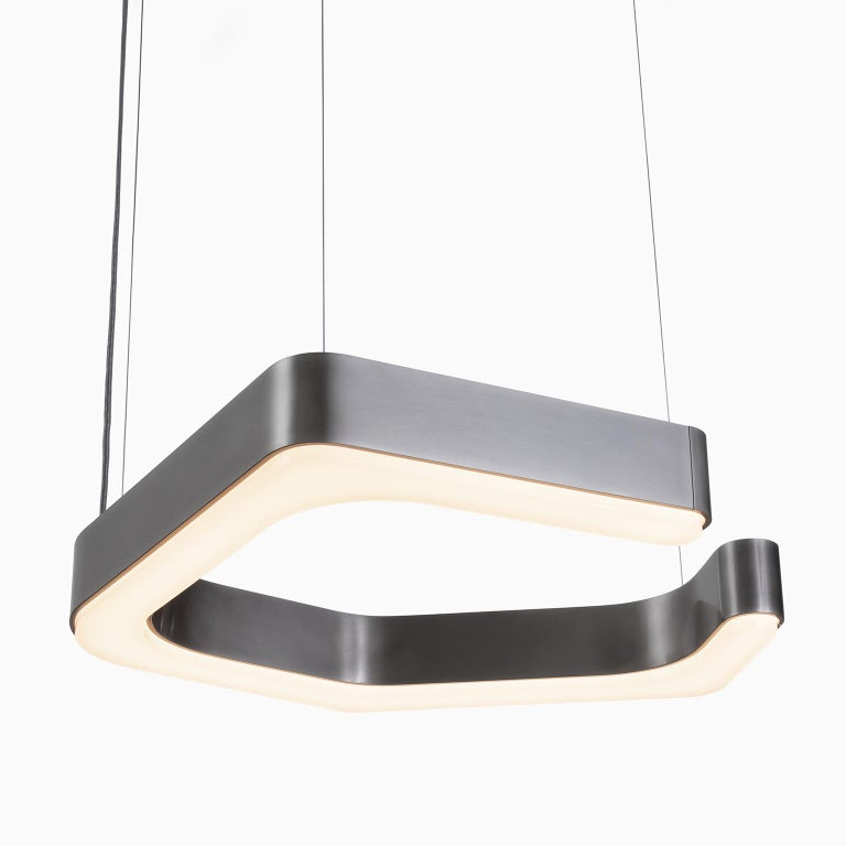 Holly Hunt Fjord hanging small LED light in aged nickel  Additional Information: Materials: Nickel Frame finish: Aged nickel Diffuser: Acrylic Illumination: Integrated LED, 120, 2700 Lm, 2700K, 100w incandescent equivalent Voltage: 220v IP rating: