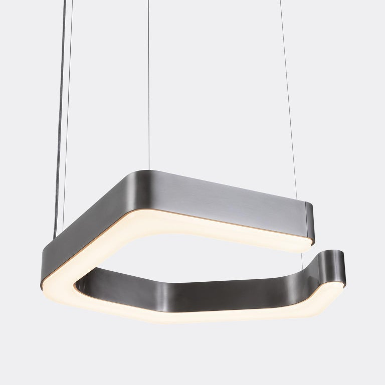 Modern HOLLY HUNT Fjord Hanging Small LED Light in Aged Nickel For Sale