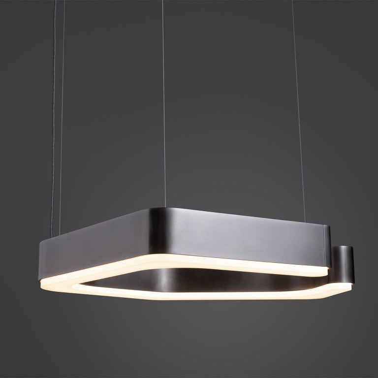 American HOLLY HUNT Fjord Hanging Small LED Light in Aged Nickel For Sale