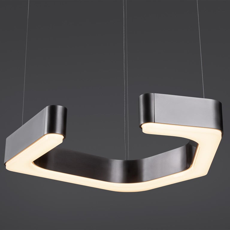 HOLLY HUNT Fjord Hanging Small LED Light in Aged Nickel In New Condition For Sale In Chicago, IL