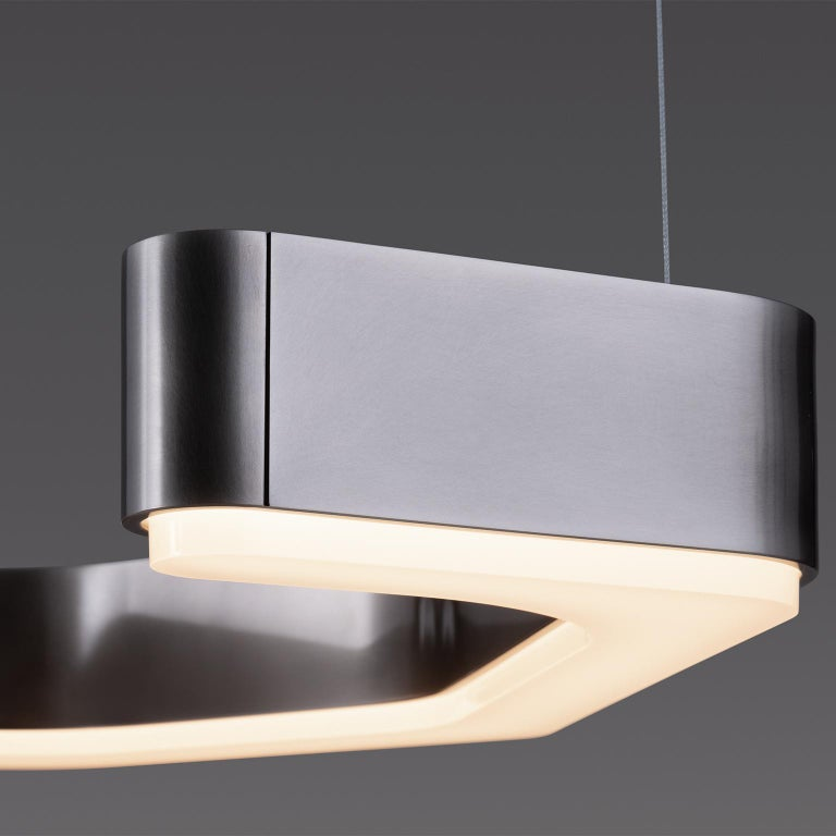 Contemporary HOLLY HUNT Fjord Hanging Small LED Light in Aged Nickel For Sale
