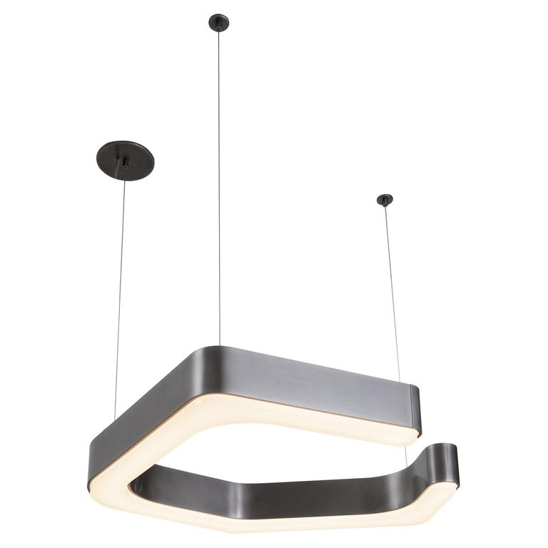 HOLLY HUNT Fjord Hanging Small LED Light in Aged Nickel For Sale