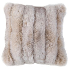 HOLLY HUNT Fox Strip Pillow in Light Stone with Cotton Velvet by Adri Collection