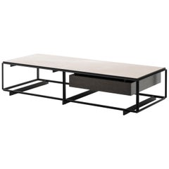 HOLLY HUNT Frame Low Table in Satin Base Finish with Corinthian Beige Stone Top