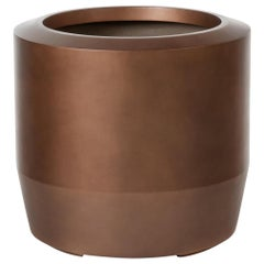 HOLLY HUNT Fugu Large Hollow Cast Concrete Outdoor Planter in Copper Finish