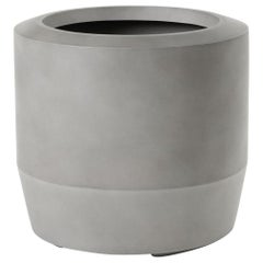 HOLLY HUNT Fugu Large Hollow Cast Concrete Outdoor Planter in Sand Grey Finish