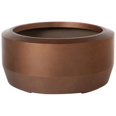 HOLLY HUNT Fugu Small Hollow Cast Concrete Outdoor Planter in Copper Finish