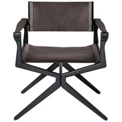 HOLLY HUNT Haka Director Chair in Aluminum and Dark Havana Rover Leather