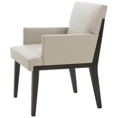 HOLLY HUNT Hampton Dining Arm Chair in Walnut Black Magic Frame & Leather Seat