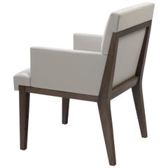 HOLLY HUNT Hampton Dining Arm Chair in Walnut Dusk Frame & Leather Seat