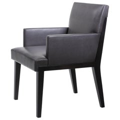 Holly Hunt  Hampton Dining Armchair in Walnut Black Magic and Leather Upholstery