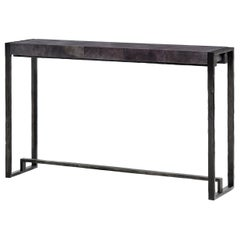 HOLLY HUNT Hastings Console Table with Whale Parchment Top Finish and Metal Base