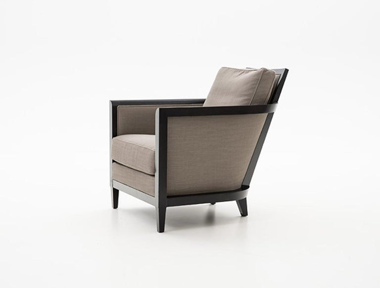 Holly Hunt Hemp Sail club chair with ebonized oak and brown upholstery  Additional Information: Materials: Oak, upholstery Frame finish: Oak ebonized  COM: Estate linen/Terrace Dimensions: 27.5 W x 35 D x 33 H inch Available in other frame finish