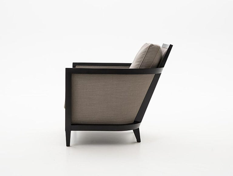 Modern HOLLY HUNT Hemp Sail Club Chair with Ebonized Oak and Brown Upholstery For Sale