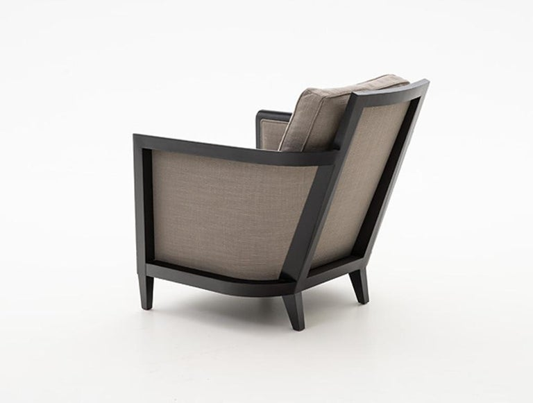American HOLLY HUNT Hemp Sail Club Chair with Ebonized Oak and Brown Upholstery For Sale