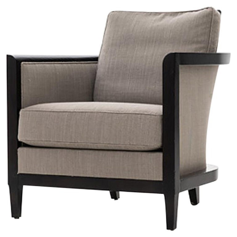 HOLLY HUNT Hemp Sail Club Chair with Ebonized Oak and Brown Upholstery For Sale