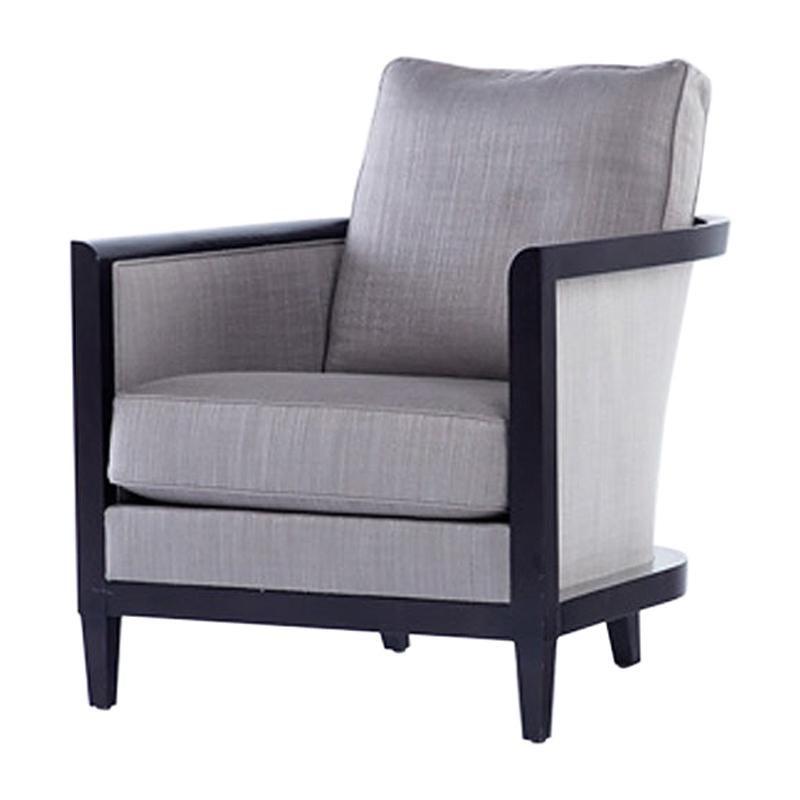 HOLLY HUNT Hemp Sail Club Chair with Ebonized Oak and Grey Upholstery
