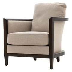 HOLLY HUNT Hemp Sail Club Chair with Oak Umber and Beige Upholstery