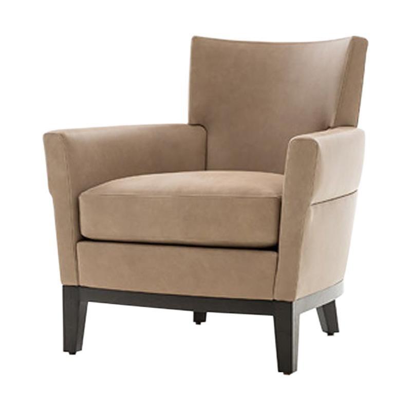 HOLLY HUNT Jockey Club Chair with Ebonized Oak and Beige Upholstery
