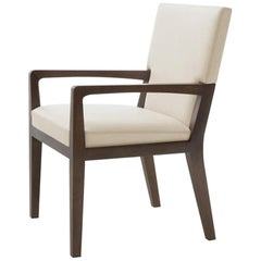 HOLLY HUNT Luna Dining Arm Chair in Walnut Cinder Frame with Leather Seat