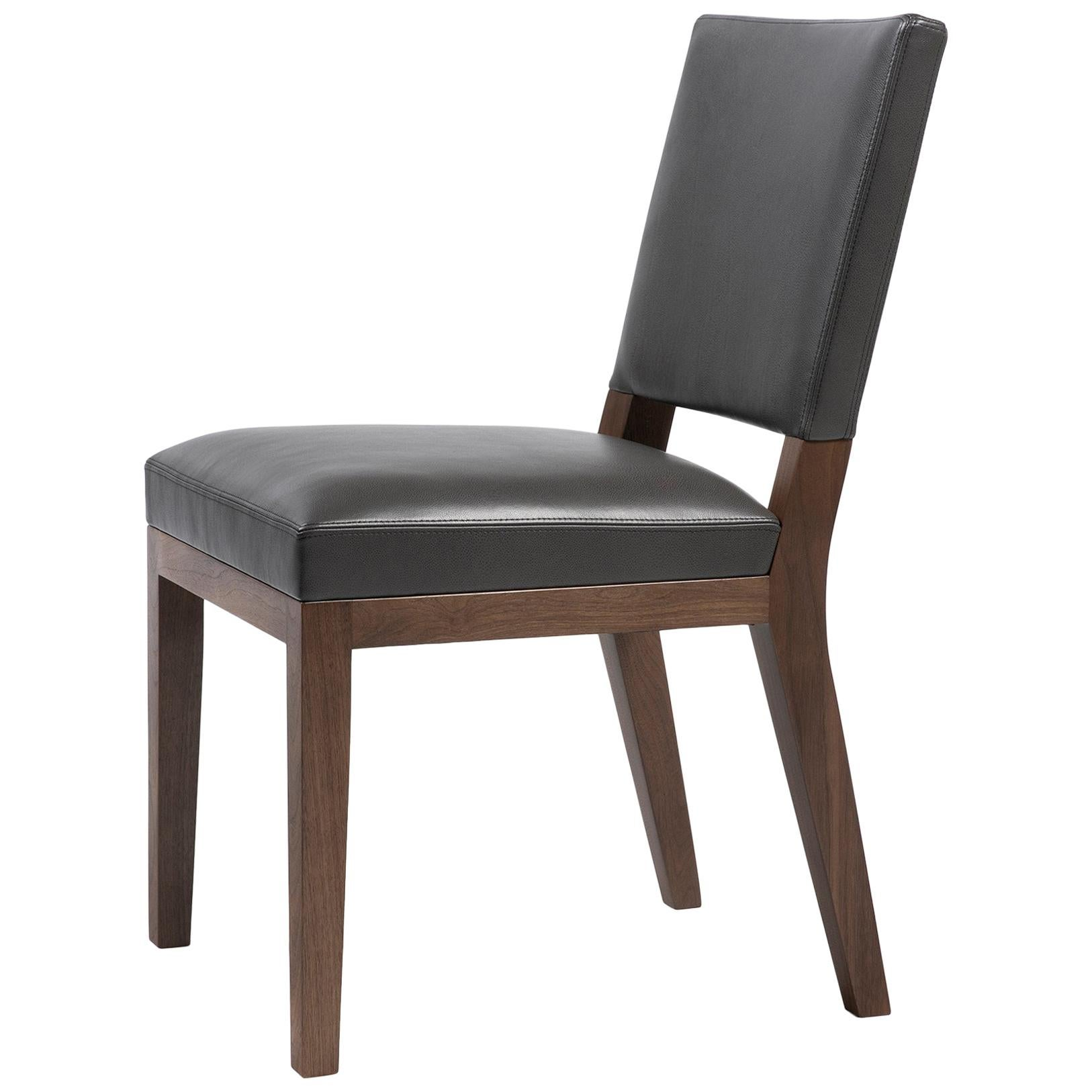 HOLLY HUNT Luna Dining Chair in Walnut Dusk Finish with Upholstered Seat