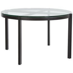 HOLLY HUNT Lusitano Dining Table in Steel with Glass Top
