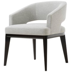 Holly Hunt Minerva Dining Chair in Walnut Black Magic and Cloud Upholstery
