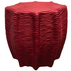 HOLLY HUNT Mivalo Stool in Carmin Red Cotton Cord by Christian Astuguevieille