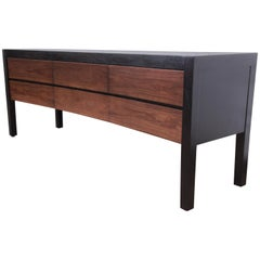 Holly Hunt Modern Concave Walnut and Rosewood Dresser or Credenza, Restored