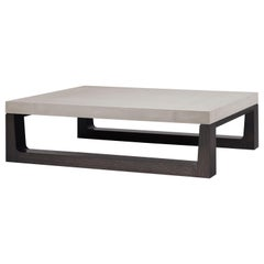 HOLLY HUNT Mojave Cocktail Table without Shelf in Oak and Linen Sandbar Top