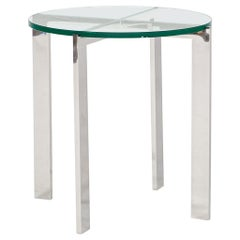 HOLLY HUNT Morgan Side Table in Stainless Steel Base with Glass Top