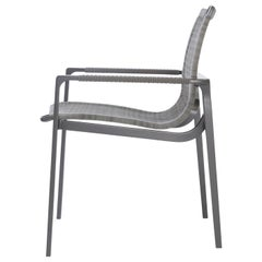 HOLLY HUNT Outdoor Keel Dining Chair in Oyster Finish Metal & Woven Fiber