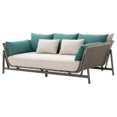 HOLLY HUNT Outdoor Manta Ray Daybed with Oyster Base Finish & Woven Fiber Seat