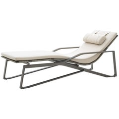 HOLLY HUNT Outdoor Moray Chaise with Oyster Base Finish and Sand Color Canvas