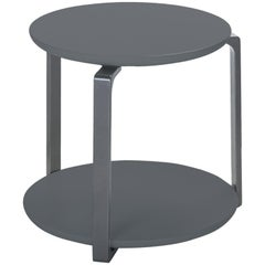 HOLLY HUNT Outdoor Plankton Round Side Table with Oyster Frame & Cobalt Grey Top