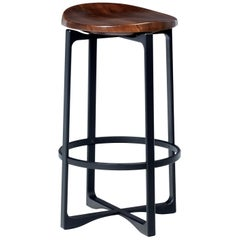 Holly Hunt Pepper Bar Stool with Walnut Cinder Seat and Aluminum Frame