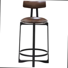 Holly Hunt Pepper Counter Stool with Back in Walnut Cinder Seat & Aluminum Frame