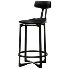 Holly Hunt Pepper Counter Stool with Backrest in Black Walnut and Aluminum Frame