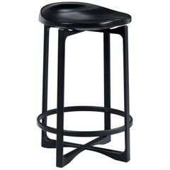Holly Hunt Pepper Counter Stool with Black Walnut Magic Seat and Aluminum Frame
