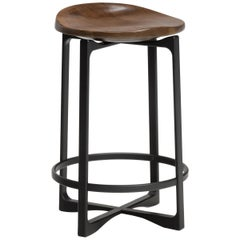 Holly Hunt Pepper Counter Stool with Walnut Cinder Seat and Aluminum Frame