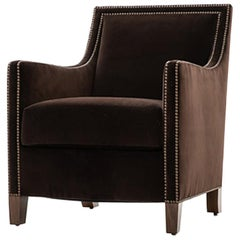 HOLLY HUNT Percheron Chair with Walnut Legs and Brown Upholstery