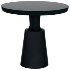 HOLLY HUNT Peso Circular Side Table in Lacquer Warm Black Finish